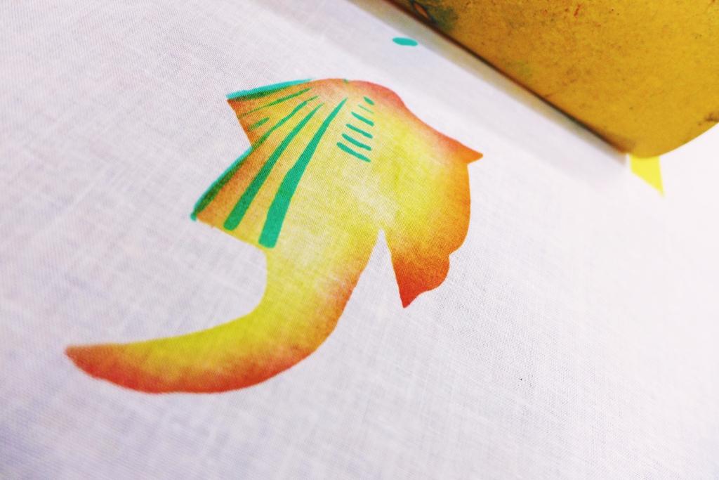 A lopsided fish creature or a kimono taking shape?